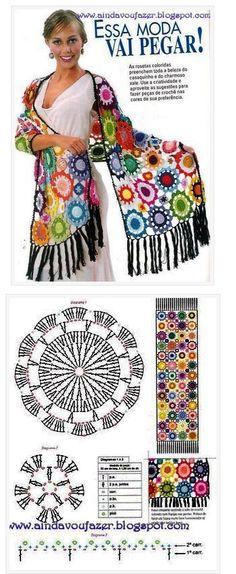 Crochet scarf chart pattern