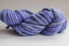 Bulky Yarn Hand Spun Hand Dyed Thick and Thin Chunky Wool Yarn Lavender by HANDSPUNYARNSHOP on Etsy