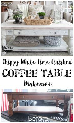 Check out how a plain thrift store find became a chippy white lime finished coffee table with plenty of modern farmhouse charm. Coffee Table Makeover, Diy Coffee Table, Decorating Coffee Tables, Diy Table, Painting Coffee Tables, How To Refinish Coffee Table, Coffee Table Decorations, Paint Furniture, Furniture Projects