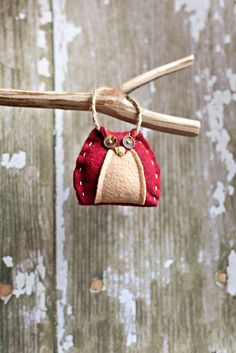Felt Owl Ornament  Burgundy/Camel by house129 on Etsy, $5.00