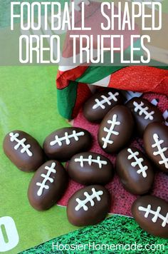 Football Shaped Oreo Truffles :: Recipe on HoosierHomemade.com