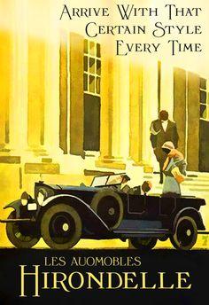 The Hirondelle. Art Deco Posters, Car Posters, Simon Templar, Vintage Advertisements, Vintage Ads, Automobile, Convertible, Art Nouveau, Propaganda Art