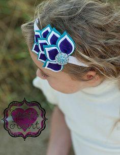 Felt Headband - Teal Blue, White, Purple - 100% USA made felt - Layered Felt Flower- Wool blend felt Infant Baby Child Toddler Teen Adult
