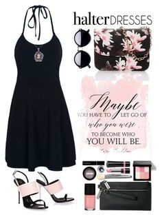 """""""Little Black Halter Dress"""" by saifai ❤ liked on Polyvore featuring WithChic, Giuseppe Zanotti, Miadora, Bobbi Brown Cosmetics, Rimmel, jane, Givenchy, Cheeky and halterdresses"""