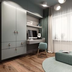 A Small Industrial Apartment With A Home Office & Blue Decor 2019 Desk organiz. A Small Industrial Apartment With A Home Office & Blue Decor 2019 Desk organization kids bedroom Industrial Office Design, Industrial Apartment, First Apartment Decorating, Apartment Design, Bedroom Apartment, Futuristisches Design, Interior Design, Large Furniture, Furniture Design