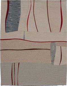 """Santa Barbara to Denver 7 map art quilt by Lou Ann Smith.............""""echo"""" quilting to follow shape of pieces"""