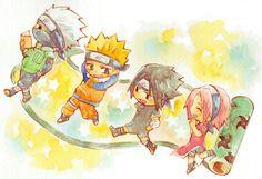 <3 Kakashi, Sasuke, Sakura & Naruto (Team Kakashi / Team 7) - by yuzuhumi, tumblr