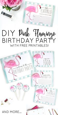 Pink Flamingo birthday party with FREE printables!  Absolutely adorable!  Add pink feathers for an extra touch to the party.
