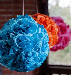 Pompoms for your ceiling! Love these -- made with dyed coffee filters, a #styrofoam ball & ribbon!
