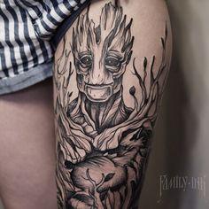 Fantasy, thigh tattoo on TattooChief.com