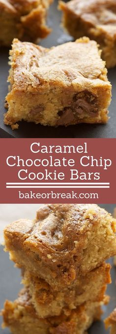 Caramel-Chocolate Chip Cookie Bars are simple, delicious bars packed with plenty of chocolate and caramel. - Bake or Break Bar Recipes, Sweets Recipes, Easy Desserts, Baking Recipes, Cookie Recipes, Delicious Desserts, Yummy Food, Caramel Chocolate Chip Cookies, Chocolate Caramels