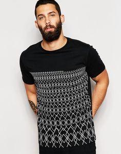Imagen 1 de Camiseta negra con panel con estampado geométrico de River Island