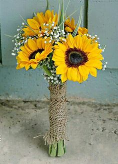 Rustic Wedding Bouquet Featuring: Yellow Sunflowers + White Gypsophila (Baby's Breath) & Greenery Hand Tied With A Burlap Ribbon