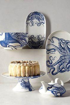 Paper Truffles loves the Blue Octopus Serveware | Anthropologie for #Dining Room Decor #Dinnerware papertruffle.com/
