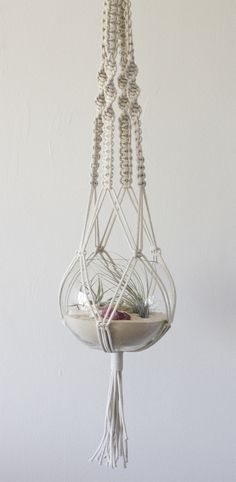 Handmade macramé beach terrarium hanger. On sale at www.rawstudio.com.au