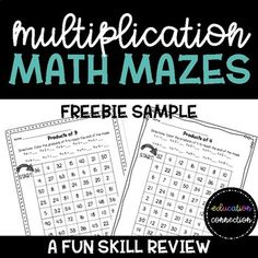 A fun way to practice multiplication facts with 3rd, 4th, and 5th grade students. No prep, just print and go. Multiplication math mazes are great for skill review, independent practice, centers or stations, homework, sub plans, or early finishers.