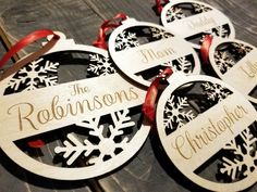 Personalized Laser Cut Family Name Christmas Ornaments SET OF Custom Wood Name Ornaments, Holiday Our First Christmas Ornament, Custom Christmas Ornaments, Wood Ornaments, Christmas Wood, Christmas Baubles, Christmas Crafts, Christmas Decorations, Laser Cutter Ideas, Laser Cutter Projects