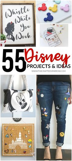 55 Disney Projects & Ideas is part of Disney diy crafts - Make your Disney trip or every day life a little more magical with one of these amazing 55 Disney Projects & Ideas! Something for everyone!