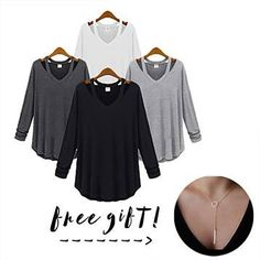 "Receive a free necklace with your purchase!This super comfy top comes in 6 colors and features cut-out straps that go from the neckline to the back, lightweight soft fabric that drapes well, and an over-sized design. Wear it with a structured skirt or your favorite skinnies.Material: 100% ModalPlease review measurements below for best fit:SMALL: Length: 26"", Bust : 34.5"", Shoulder: 14"", Sleeves: 21""MEDIUM: Length: 27"", Bust : 37"", Shoulder: 14.5"", Sleeves: 2..."