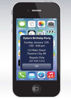 This listing is for 5 X 7 iPhone Alert Birthday Invitation - Unique Birthday Party Printable card featuring an iPhone with IOS 7 and Birthday Printable Cards, Party Printables, Teen Birthday, Birthday Ideas, Apple Birthday, Baby Shower Invitaciones, Kids Birthday Party Invitations, Invitation Paper, Invite