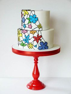 Stained glass whimsical flower wedding cake