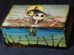 Nightmare Before Christmas Jack Skellington and Friends Woodburned Hand Painted Wooden Box