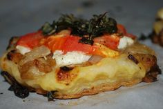 three square chef: Vegetarian Tomato and Goat Cheese Tarts Source ...