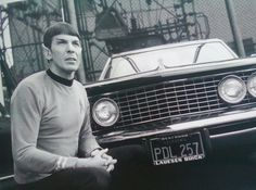 Leonard Nimoy with his 1964 Buick Riviera on the Desilu backlot, vintage 1966 Buick Riviera, Leonard Nimoy, Spock, Star Trek, Science Fiction, Pop Art, Stars, Film, Fictional Characters