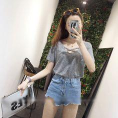 Strappy Neckline T-Shirt, Black , One Size - Oaksa | YESSTYLE