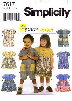 Simplicity 7617 Toddler Girls Front Button Romper by patternshop, $5.99