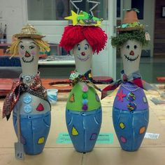 Scarecrow bowling pins. Used for awards for scarecrow contest at work. Best, funniest, and most original.