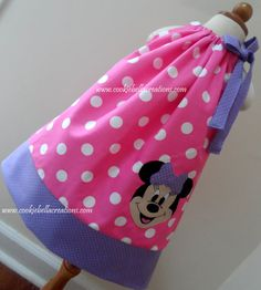 NEW Minnie Mouse Face Pink & Lavender pillowcase dress. Perfect for a Mickey Mouse Clubhouse birthday party for girls, toddler, and baby!