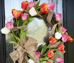 türkranz frühling tulpen  bastelanleitung