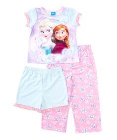 Love this AME Pink Frozen Elsa & Anna Three-Piece Pajama Set - Toddler by AME on #zulily! #zulilyfinds