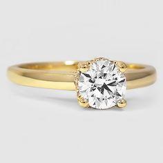 18K Yellow Gold Sonata Diamond Ring // Set with a 1.01 Carat, Round, Super Ideal Cut, G Color, SI1 Clarity Diamond #BrilliantEarth