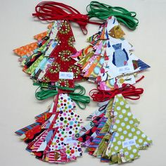 fabric #Christmas trees #crafts cute little hang tag or ornament ideas.