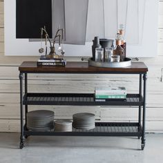 Embrace the industrial style of the Belham Living Archer Industrial Console Table . This console table has a powder-coated metal frame with two large. Steel Furniture, Living Furniture, Cheap Furniture, Wooden Furniture, Kids Furniture, Industrial Console Tables, Farmhouse Kitchen Tables, Modern Shelving, Wooden Tops