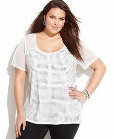 INC International Concepts Plus Size Short-Sleeve Studded Tee #plussizetops #plussizefashion #plussizeclothes #fatshion