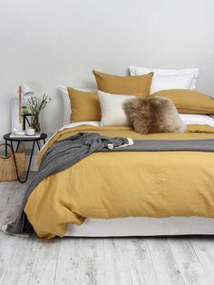 Ochre Bedroom, Bedding Master Bedroom, Home Bedroom, Bedroom Decor, Bedroom Ideas, Bedding Decor, Linen Bedroom, Master Bedrooms, Linen Duvet