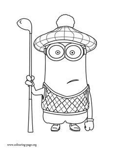 Kevin is one of the Gru's Minions and he is often wearing his golf clothing. Have fun with this another free coloring sheet from Despicable Me 2 movie!