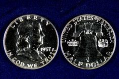 The Franklin Half Dollar was introduced in 1948, replacing the Walking Liberty design which had been in use since 1916. Mint director Nellie Tayloe Ross had long admired Benjamin Franklin—who was the first U.S. Post Master, renowned inventor, noted writer and statesman¬—and was eager to see his image on a coin. The Benjamin Franklin Half Dollars were only minted for 16 years, one of the shortest regular issues in modern American coin production. This 1957 was struck in Proof condition.