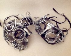 Steampunk Mask Black Silver Phantom Couple masquerade ball mask with goggle by Crafty4Party