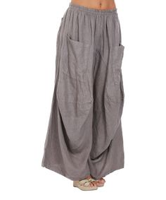 Another great find on #zulily! Taupe Patch-Pocket Linen Palazzo Pants - Plus Too by La Belle Hélène #zulilyfinds