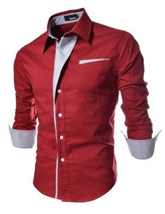 TheLees Mens Casual Long Sleeve Stripe Patched Fitted Dress Shirts Red