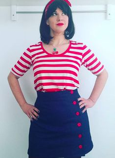 Rachel's Arielle Skirt - Sewing pattern by Tilly and the Buttons Skirt Sewing, Skirt Patterns Sewing, Tilly And The Buttons, Striped Jersey, Dressmaking, Outfit Ideas, Autumn, Couture, Stitch