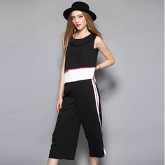 De Fee European Women's Clothing 2017 Summer New Contract Color Two-Piece Top Plus Sports Leisure Straight Pants Female Set Clothes