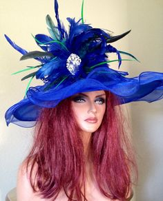 Royal Blue Cobalt Turquoise Kentucky Derby Hat by jeniferbuckley