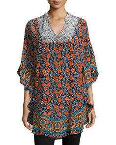9a55df777cf Tolani Belle Floral-Print Flutter Tunic