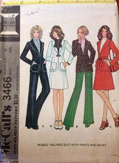 1970s boho women's suit - shawl collar jacket skirt and pants McCalls 3466 Uncut vintage sewing pattern B 32.5 W 25 H 34.5 Retro 70s Mad Men by 101VintagePatterns on Etsy
