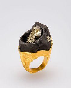 "Ornella Iannuzzi (UK) ring ""On the Rock"", 2008 Pyrite in its matrix set in…"